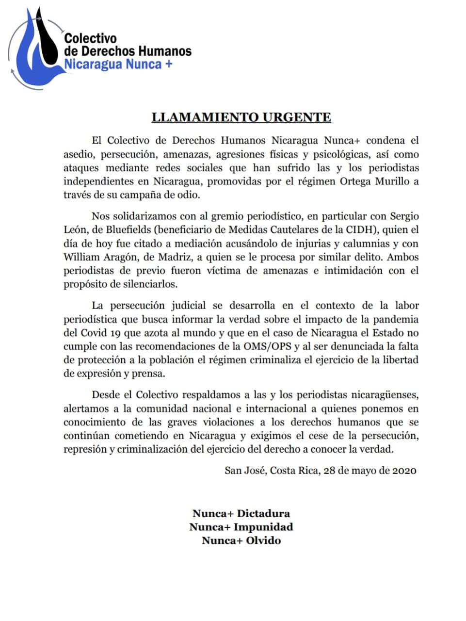Pronunciamiento en apoyo a periodistas independientes de Nicaragua