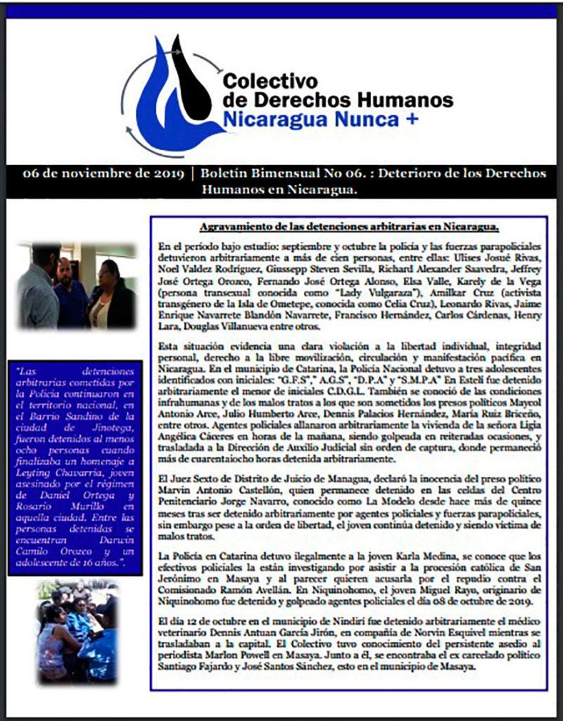 Boletín 06 Deterioro de los Derechos Humanos en Nicaragua