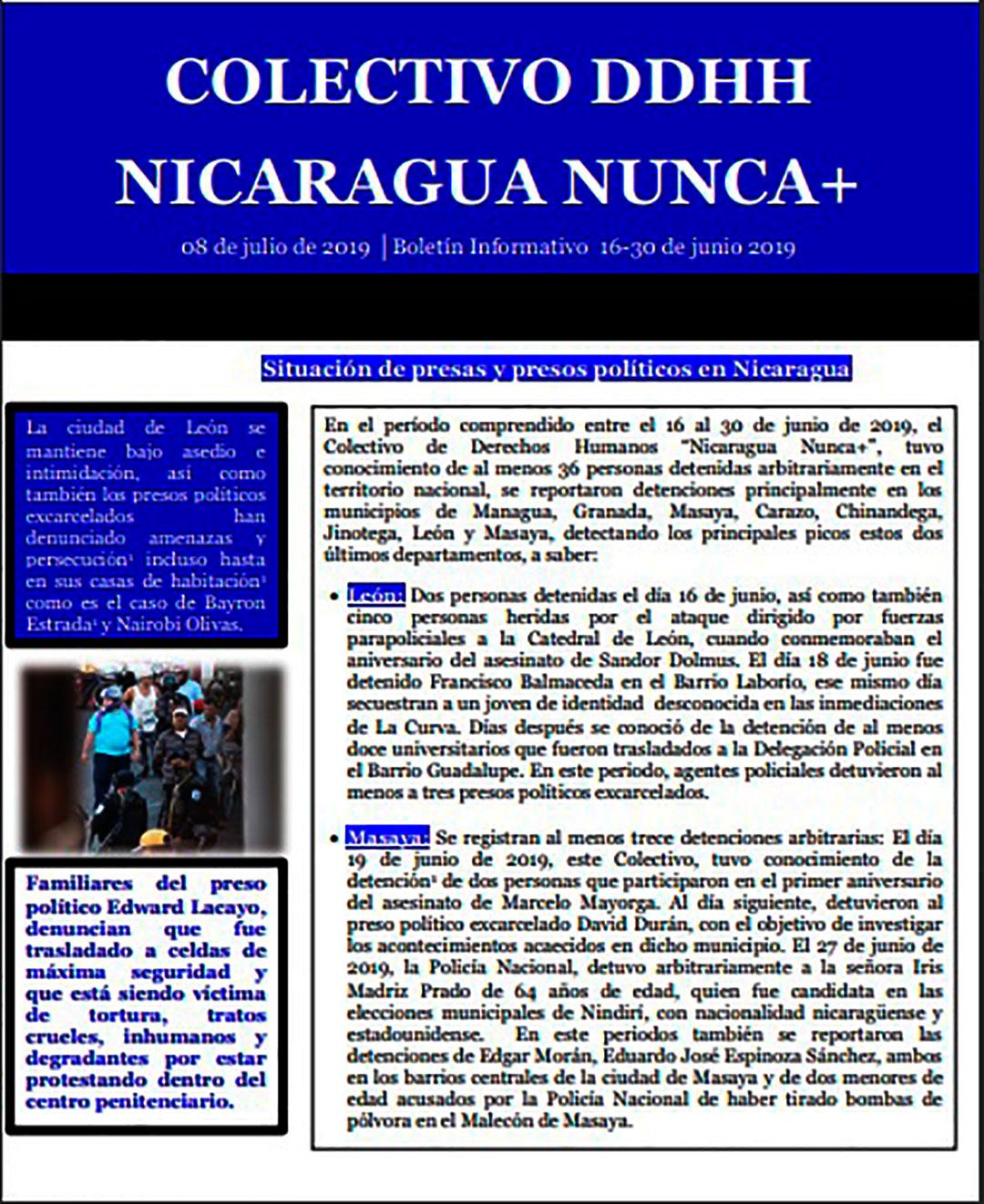 Boletín 02 Situación de presas y presos políticos en Nicaragua