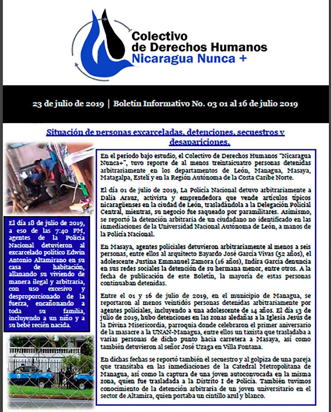 Boletín 03 Situación de personas excarceladas, detenciones, secuestros y desapariciones