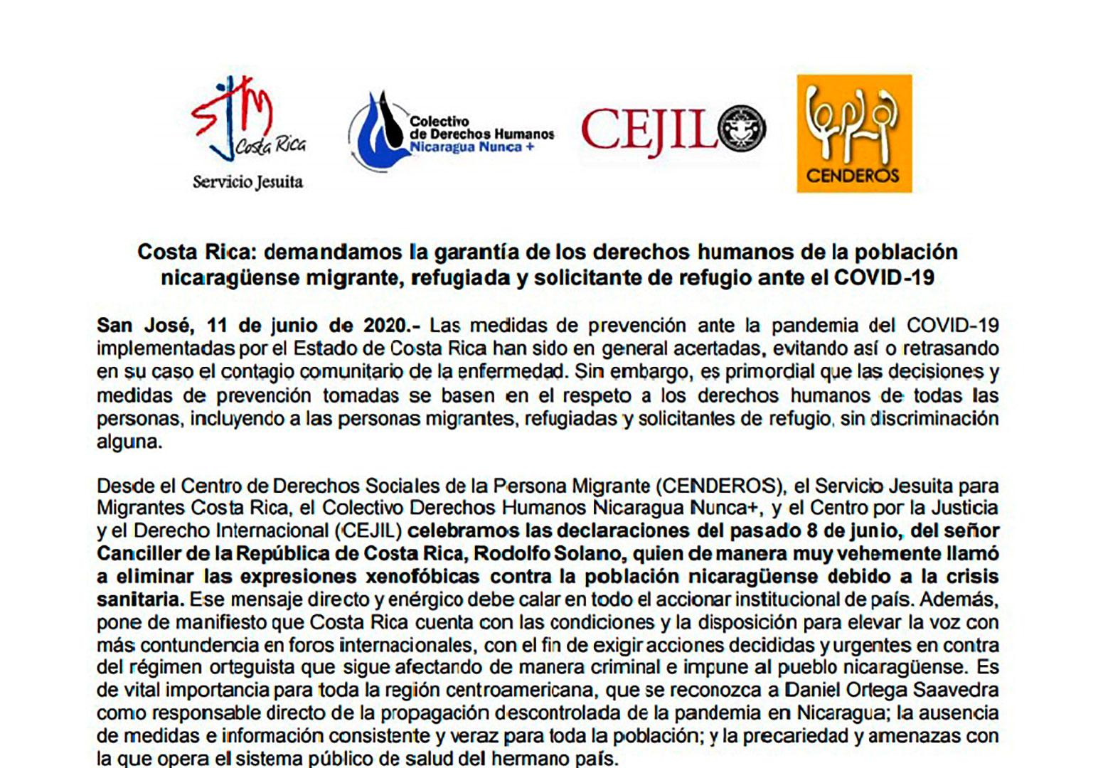 Organizaciones de derechos humanos en Costa Rica piden eliminar las expresiones xenofóbicas contra nicaragüenses, en particular por la actual crisis que se vive debido a la pandemia por el Covid 19.
