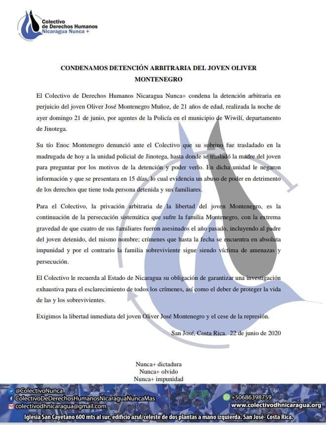 pronunciamiento condena joven montenegro