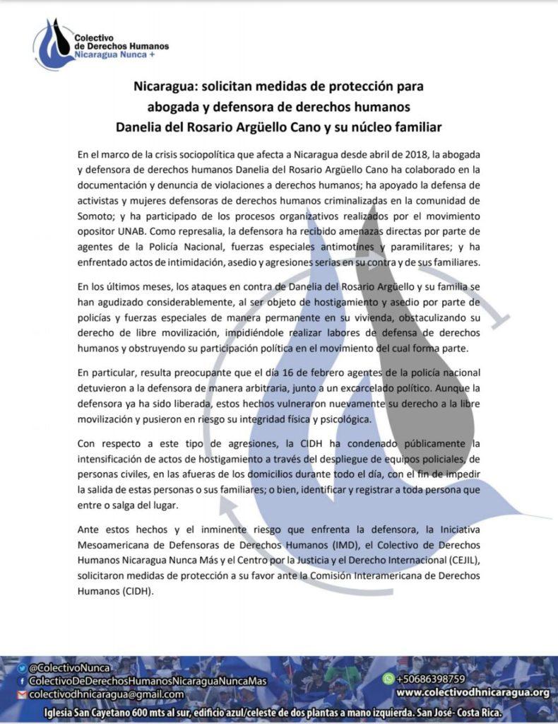 Pronunciamiento Danelia del Rosario Argüello Cano